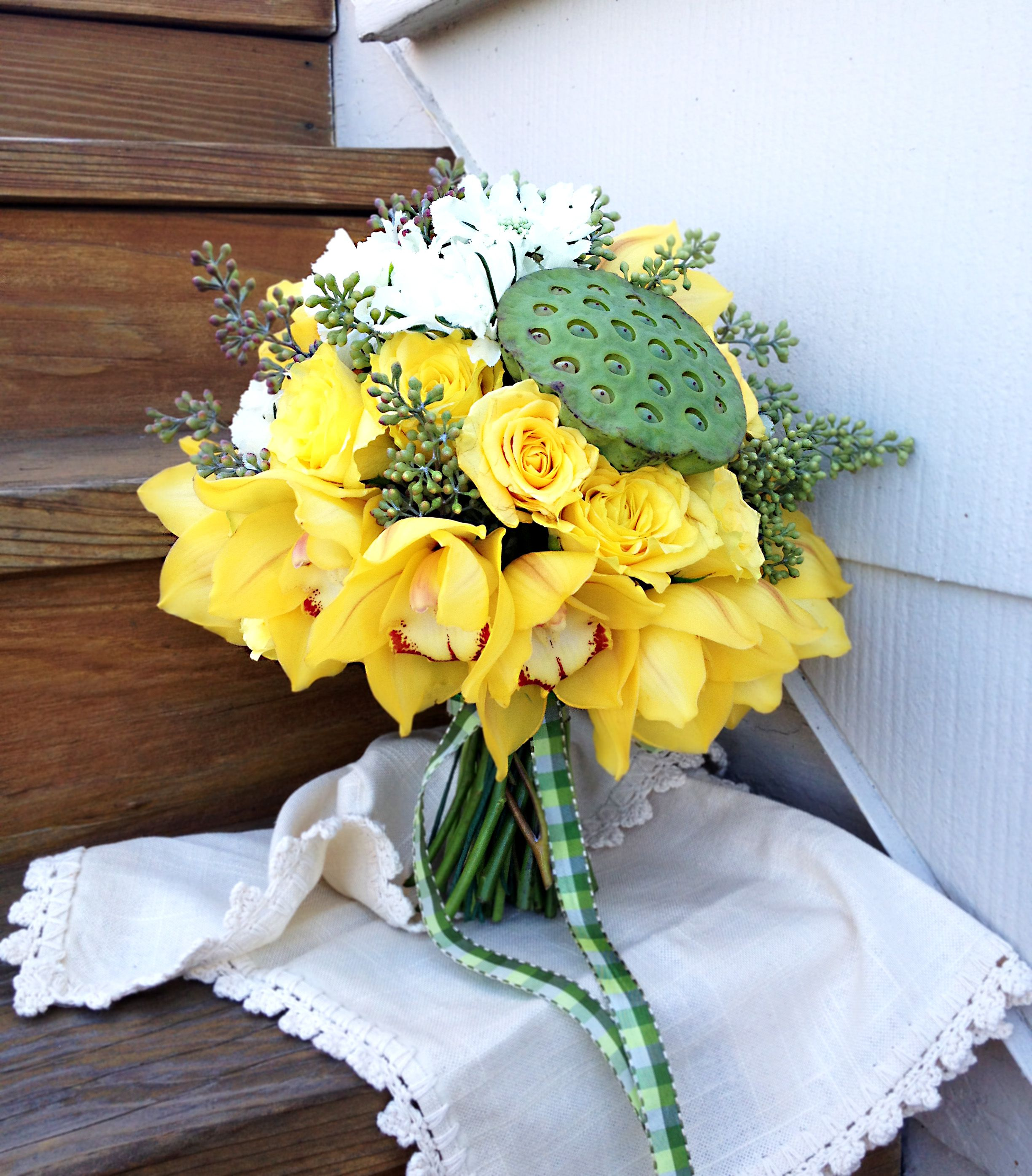 Yellow bouquet with lotus seed head yellow orchid yellow yellow bouquet with lotus seed head yellow orchid yellow rose dhlflorist Images