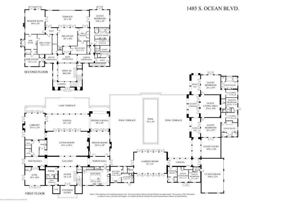 Location 1485 s ocean boulevard palm beach fl square for Ocean house plans