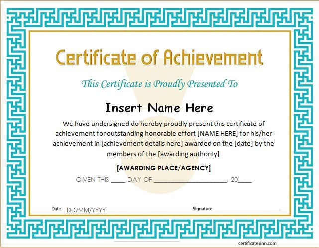 Certificate of Achievement Template for MS Word DOWNLOAD at