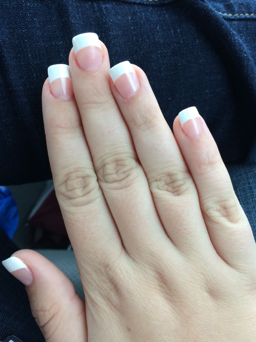 Acrylic Nails And White Paint To Make French Tips Painted Acrylic Nails Square Acrylic Nails French Nails