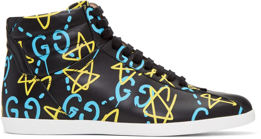 bc0b65b1ea8 GUCCI Black Guccighost High-Top Sneakers.  gucci  shoes  sneakers ...