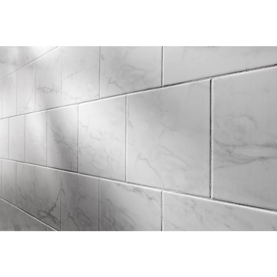 9x12 Ceramic Marble Look 2 25 Sf Lowes Ceramic Wall Tiles White Wall Tiles Tile Bathroom