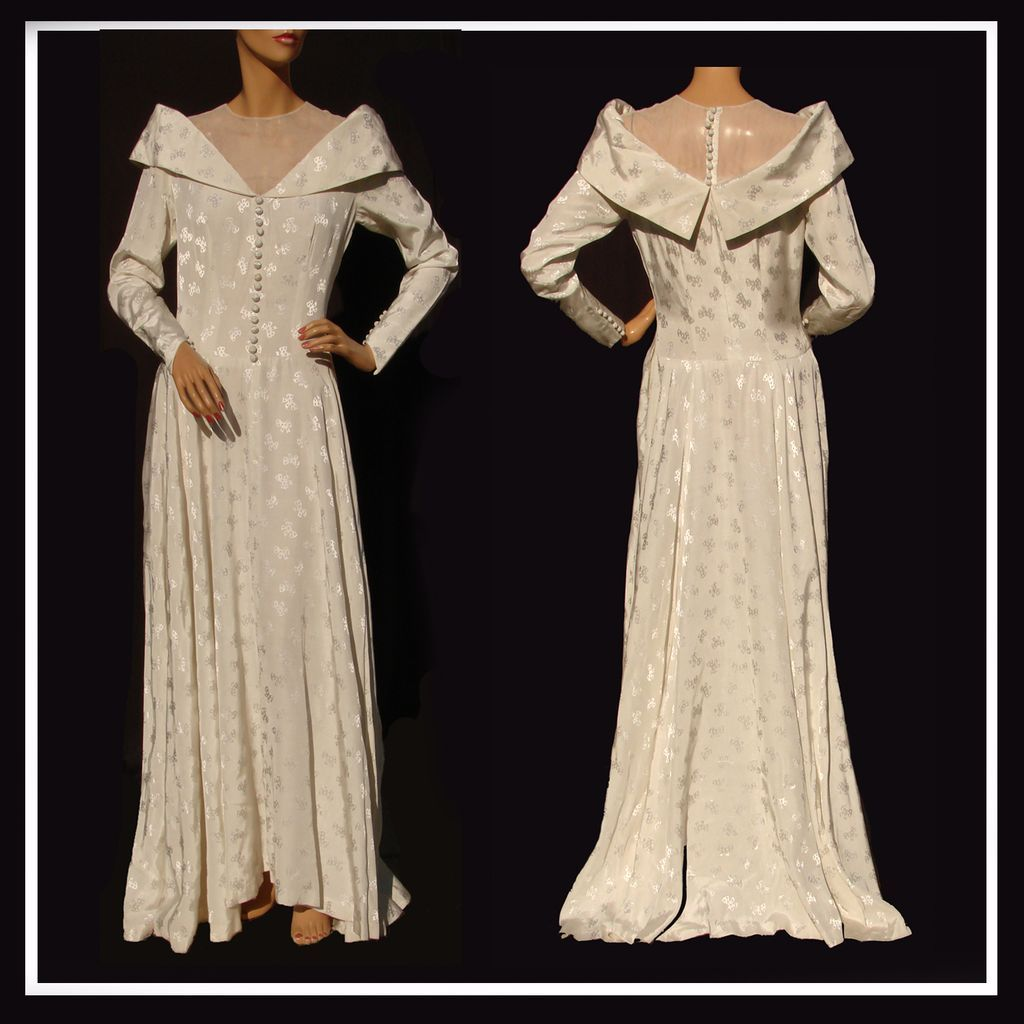 Vintage s wedding gown dress rayon moire woven bow pattern