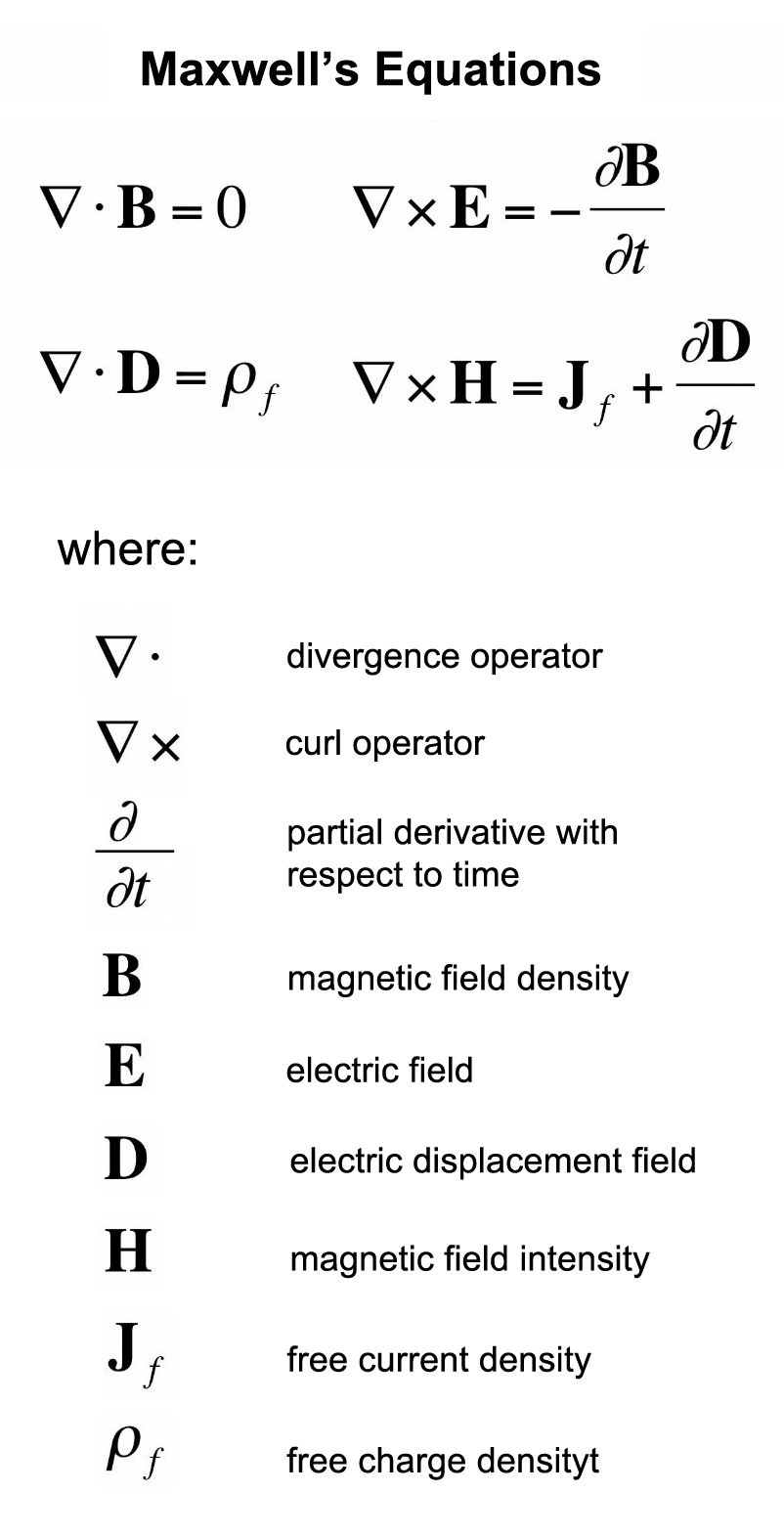Maxwell's equations in differential form