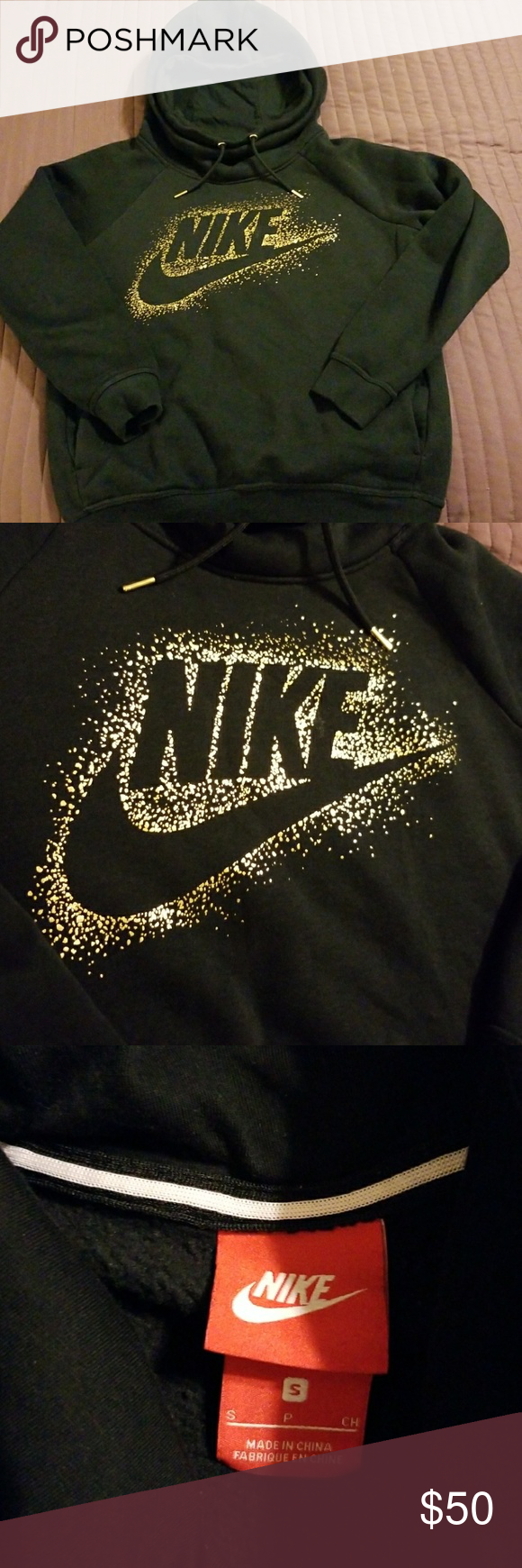 Black Nike Hooded Sweatshirt w Gold Logo NIKE WOMEN'S