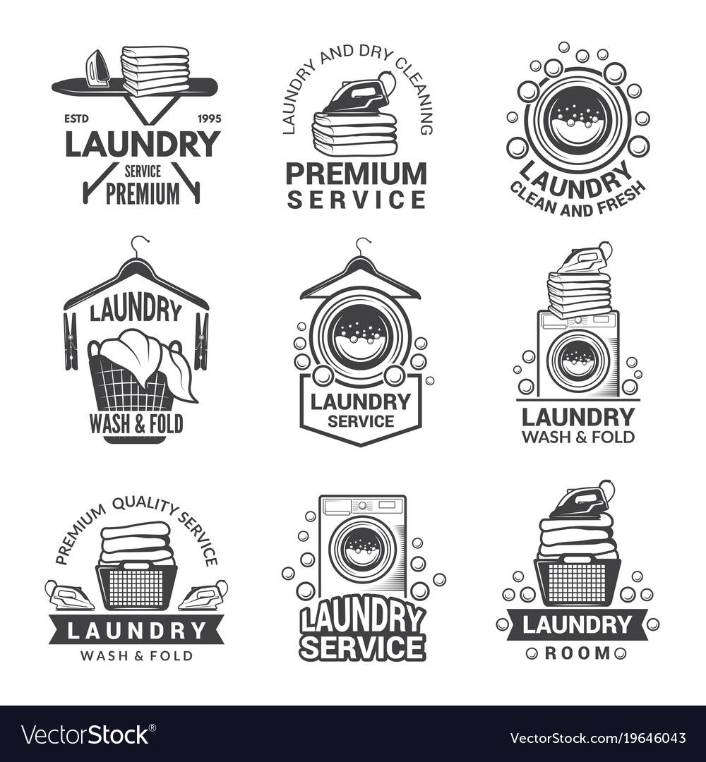 Labels or logos for laundry service vector image on in