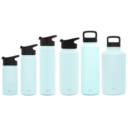 cfe9e04186 Simple Modern 64 oz Summit Water Bottle - Stainless Steel Hydro Metal Flask  +2 Lids - Wide Mouth Double Wall Vacuum Insulated Orange Large 2 Liter Half  ...