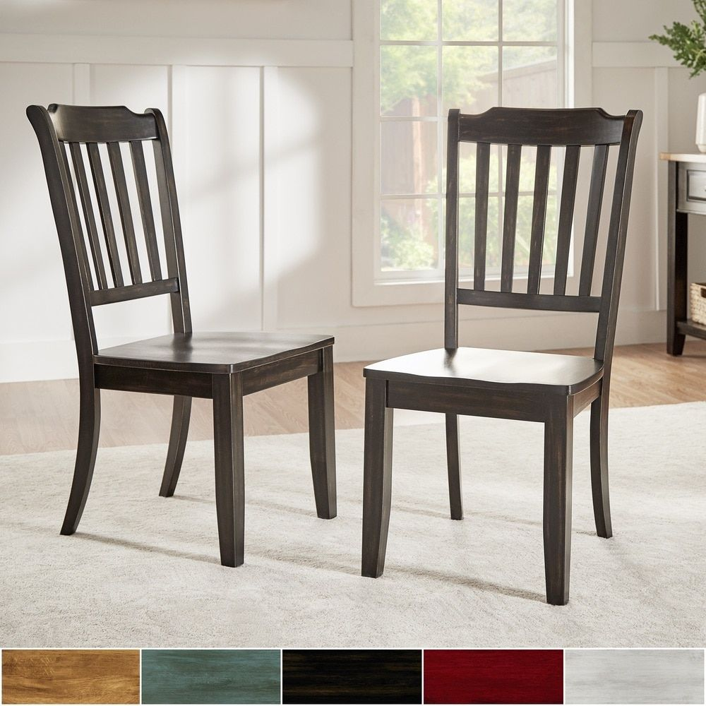 Eleanor slat back wood dining chair set of 2 by inspire