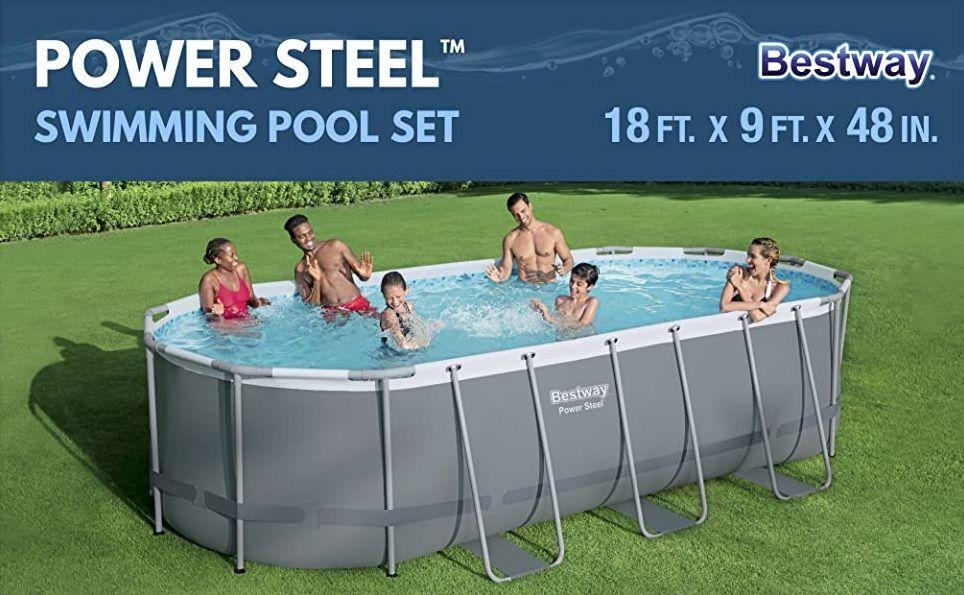 Bestway Power Steel 18 X 9 X 4 Foot Above Ground Swimming Pool Set With Pump Swimming Pools Above Ground Swimming Pools Pool