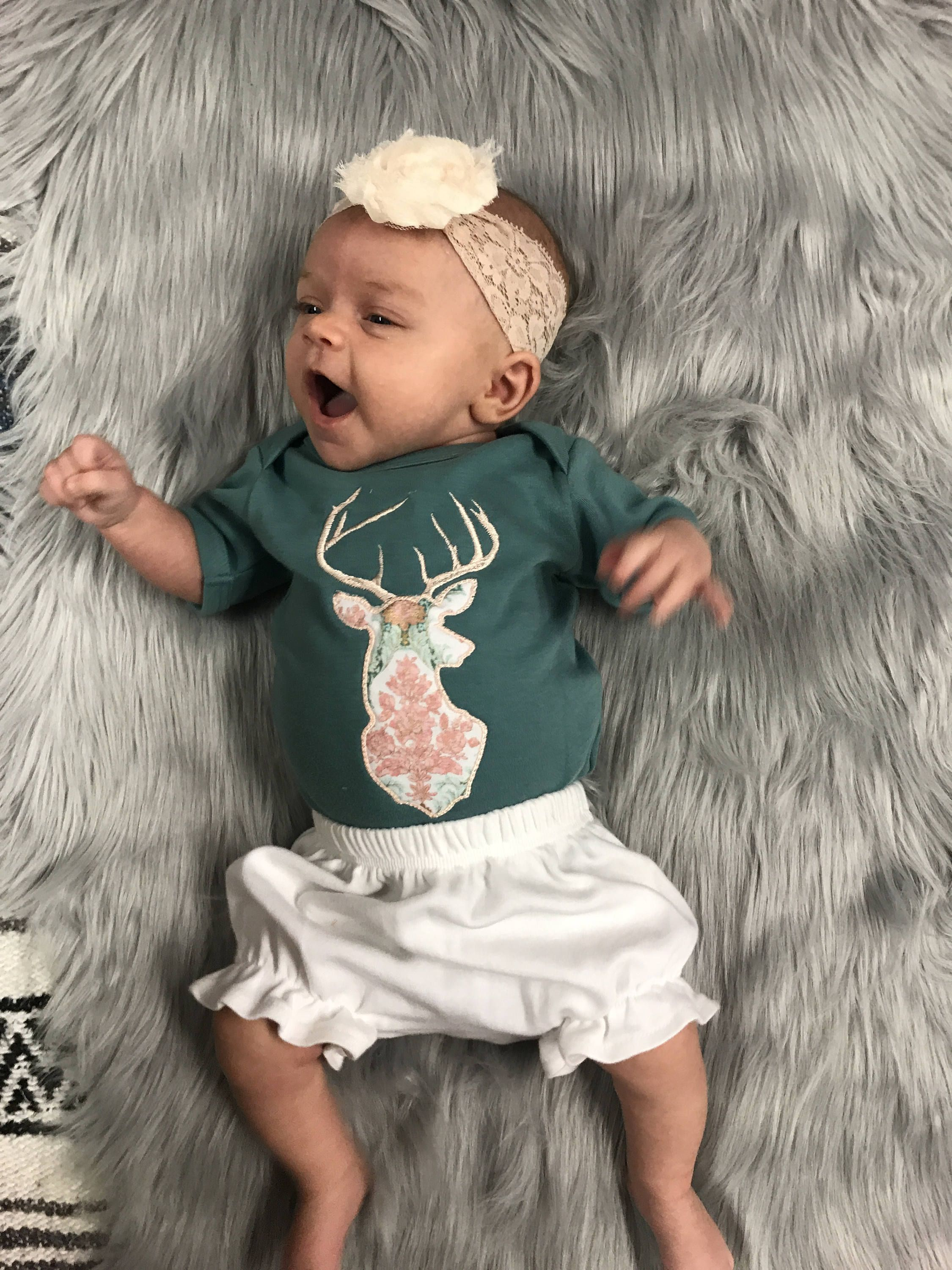 Coming Home Outfit Newborn baby girl Custom Baby Outfit Pink Deer Outfit Hat Baby Girl Baby Girl Clothes|Gifts for Mom Headband