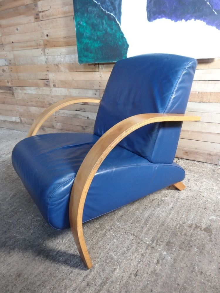 STUNNING WOODEN FRAMED ART DECO BLUE LEATHER ARM CHAIR IN MINT COND