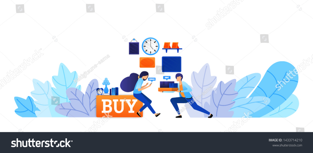 Experience Of Buying Goods Online With Fast Delivery Buy Now And Shop Right Up E Commerce Technology Vector Illustrati Vector Illustration Vector Illustration