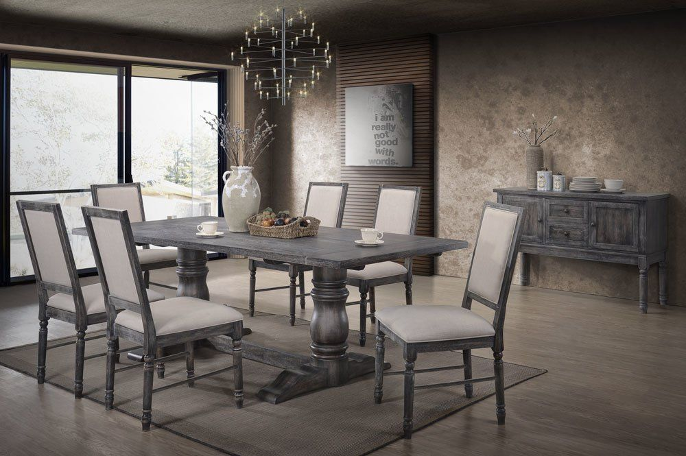 Ahrens 7 Piece Solid Wood Dining Set Grey Dining Tables Pedestal Dining Table Dining Table