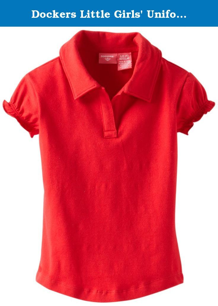 406dc9106 Dockers Little Girls  Uniform Short Sleeve Stretch Jersey Polo Gathered  Sleeve