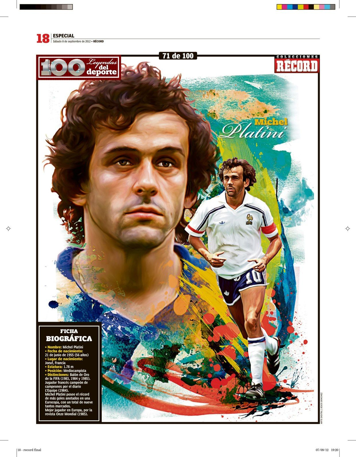 100 Leyendas Del Deporte 100 Sports Legends On Behance Football Michel Platini Kids Soccer Sports Stars