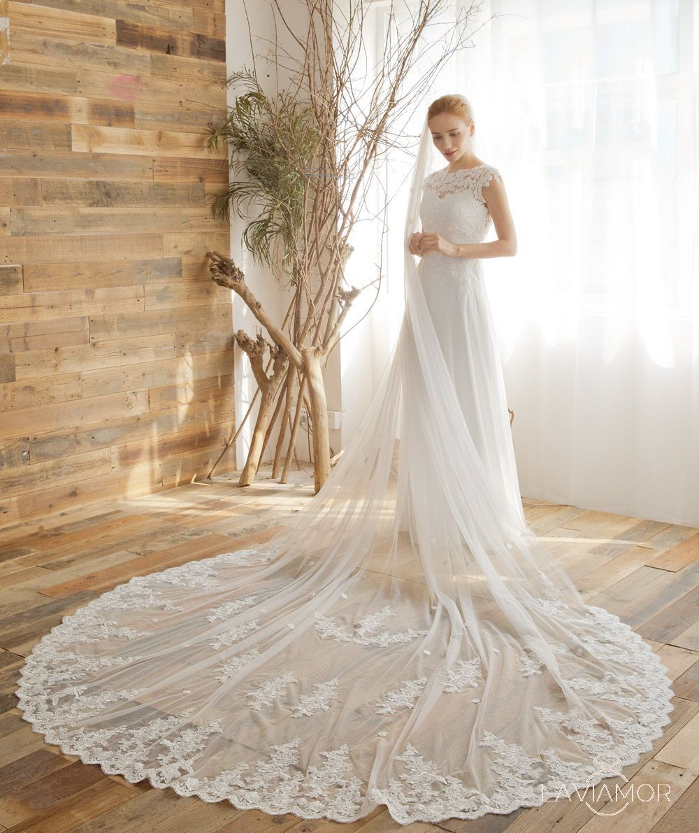 Vintage Embroidered Lace Cathedral Veil TSDZ013 Wedding