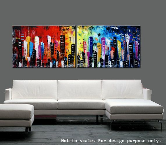 """Cityscape Wall Art 72"""" abstract art painting large painting abstract painting"""
