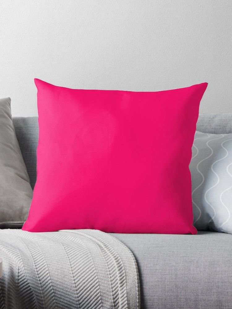 Super Bright Fluorescent Pink Neon Throw Pillow Colourful