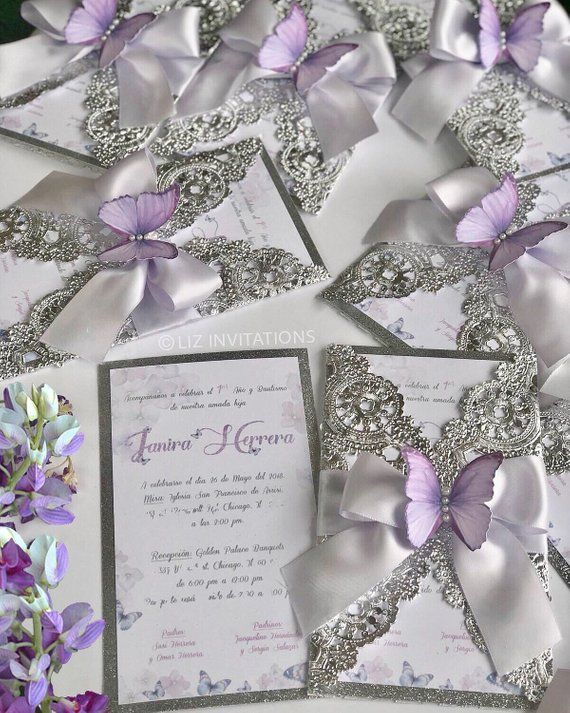 Lilac Butterfly Invitation 12 units Butterfly
