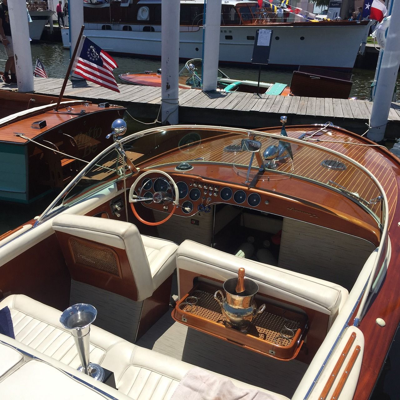 A beautiful wooden boat at Keels and Wheels 2017.
