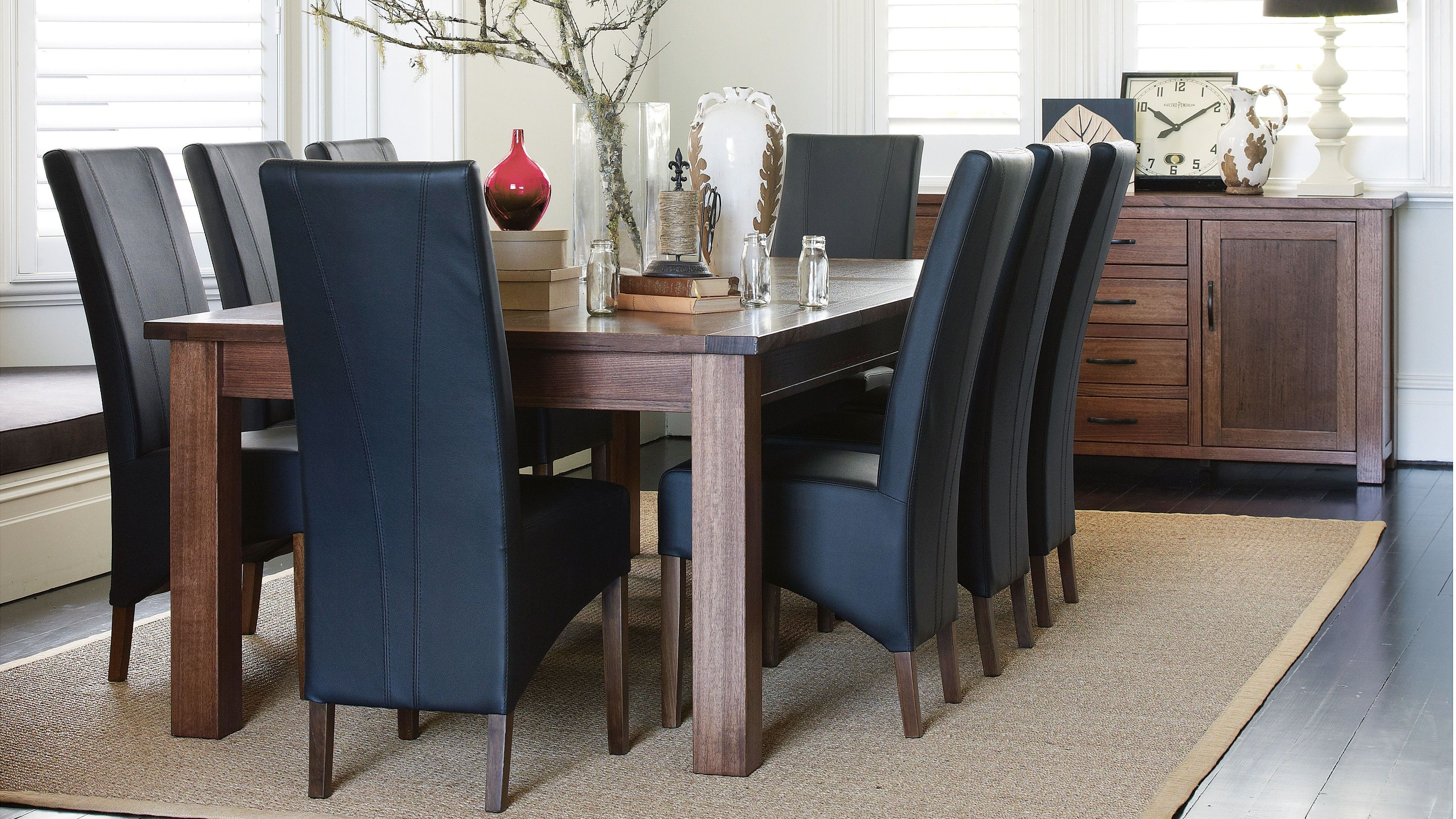 Create A Beautiful Dining Area In Your Home With The Navana 9 Piece Suite Sleek Tasmanian Oak Table Is Offset By High Back Chairs