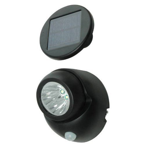 """Solar Power Security Spotlight with Motion Sensor by TruePower. $14.99. 15ft power cord - overall dimensions: 6.1"""" x 5.47""""x 4.33"""". Black housing. Triple LED security spotlight (100 lumens) with motion sensor. Motion sensor activation (30 seconds) - Day/Night light sensor. Mono-crystalline solar panel recharges Ni-CD batteries during daylight. Includes Ni-CD re-chargeble batteries and mounting hardware."""