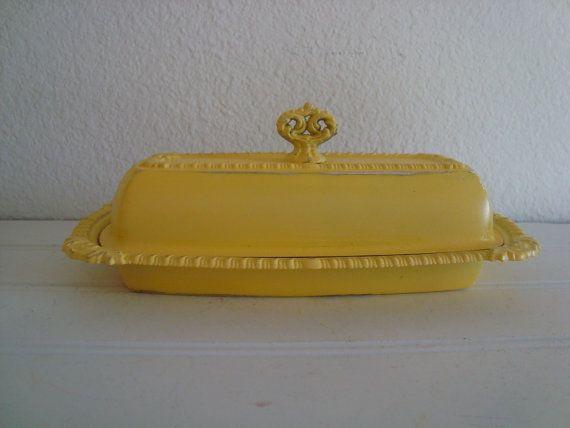 Ornate Yellow Butter Dish