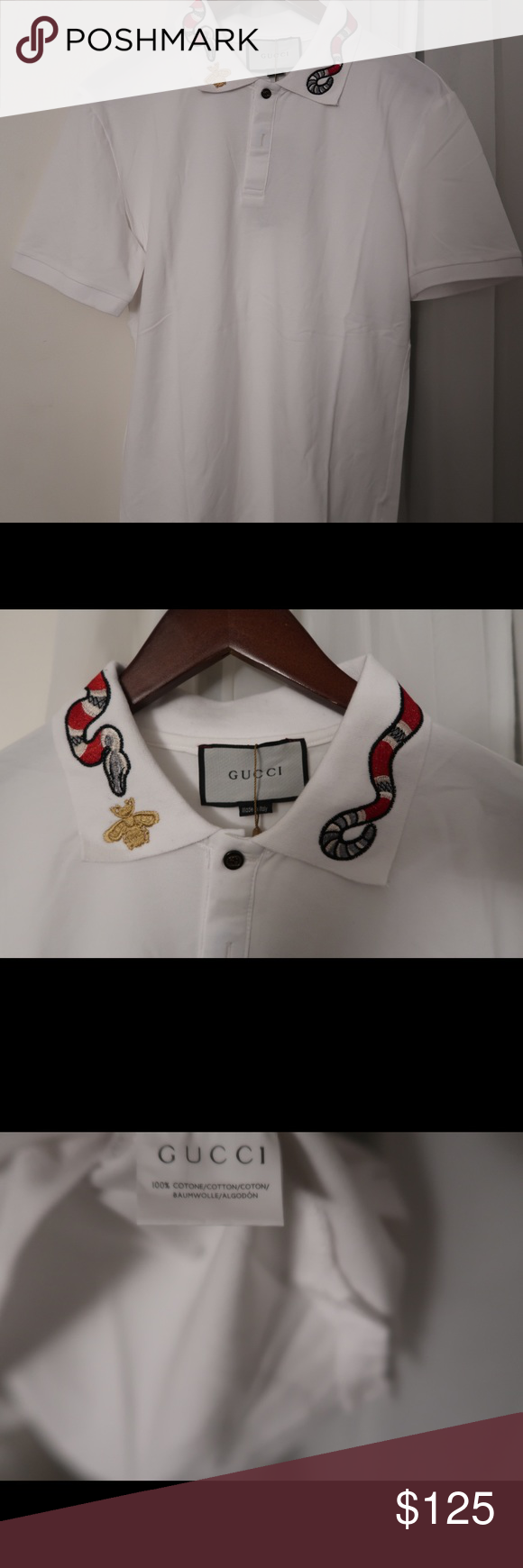 d2bbf0387 Gucci Kingsnake Embroidery Polo Size Large. New With Tags. White Shirts  Polos