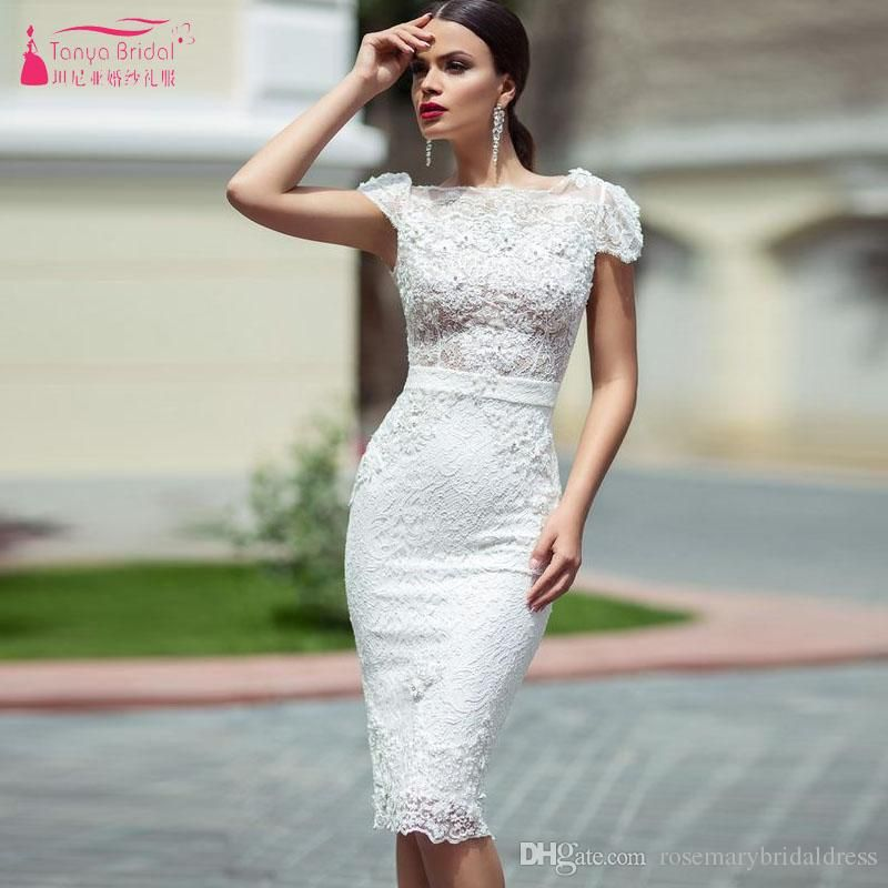 Short Mermaid Knee Length Wedding Dresses Lace short sleeve Sexy ...