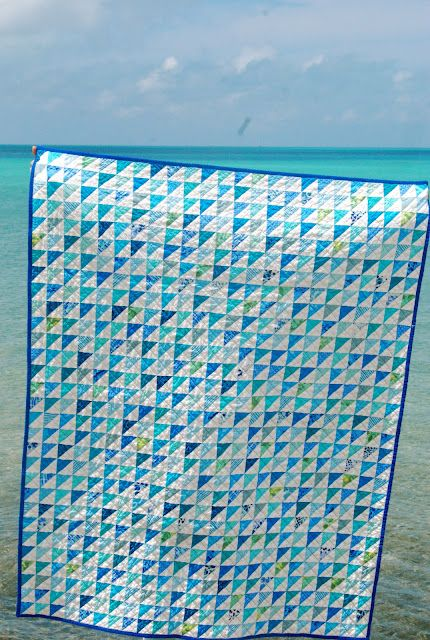 Love the blue & white half square triangles; Margaret's Hope Chest: Bermuda Blues-Blogger's Quilt Festival