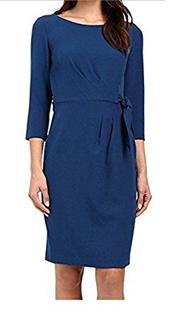 Tahari by ASL Women's Crepe Side-Tie 3/4 Sleeve Sheath Dress - Teal at Amazon Women's Clothing store: