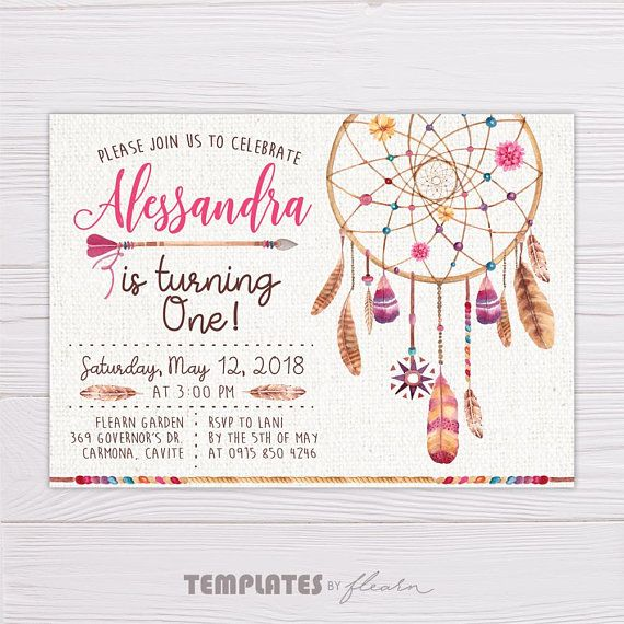 Bohemian Invitation Bohemian Printable Bohemian Template