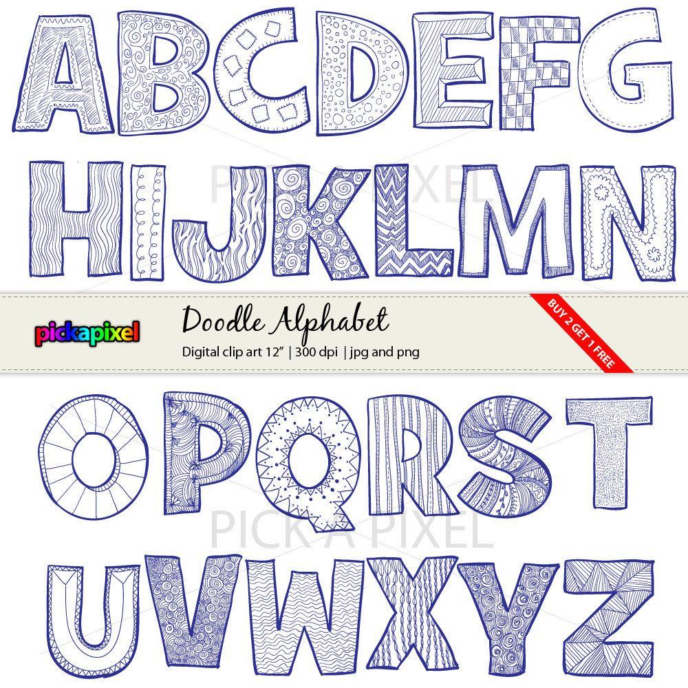 Doodle Alphabet A-Z - Letters- digital clip art - personal ...