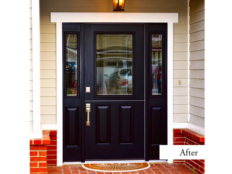 prefinished entry doors. black dutch door with side lights. smooth fiberglass model clear glass low-e. exterior and interior white. prefinished entry doors