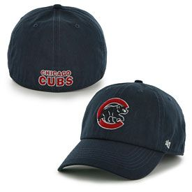 9141ca3e6b6 Get this Chicago Cubs Navy Walking Bear Logo Franchise Fitted Cap at  WrigleyvilleSports.com