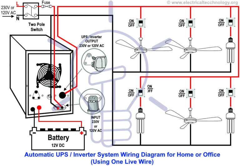 Automatic Ups Inverter Wiring Connection Diagram To The Home Instalacion Electrica Electricidad Electrica