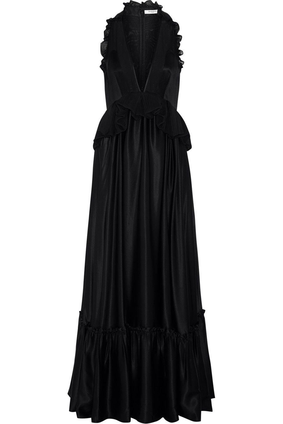 6d8518cb359 Givenchy Robe longue du soir en satin de soie noir à volants ...