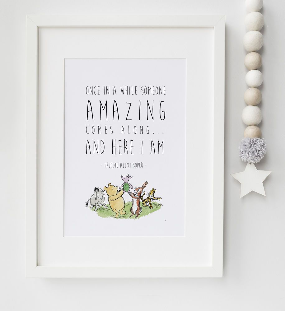 Personalised winnie the pooh baby quote nursery print picture personalised winnie the pooh baby quote nursery print picture christening gift negle Images