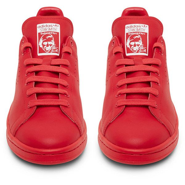 Raf Simons X Adidas Originals Stan Smith Red Low Top Sneaker ( 480) ❤ liked  on Polyvore featuring shoes 095adbe34