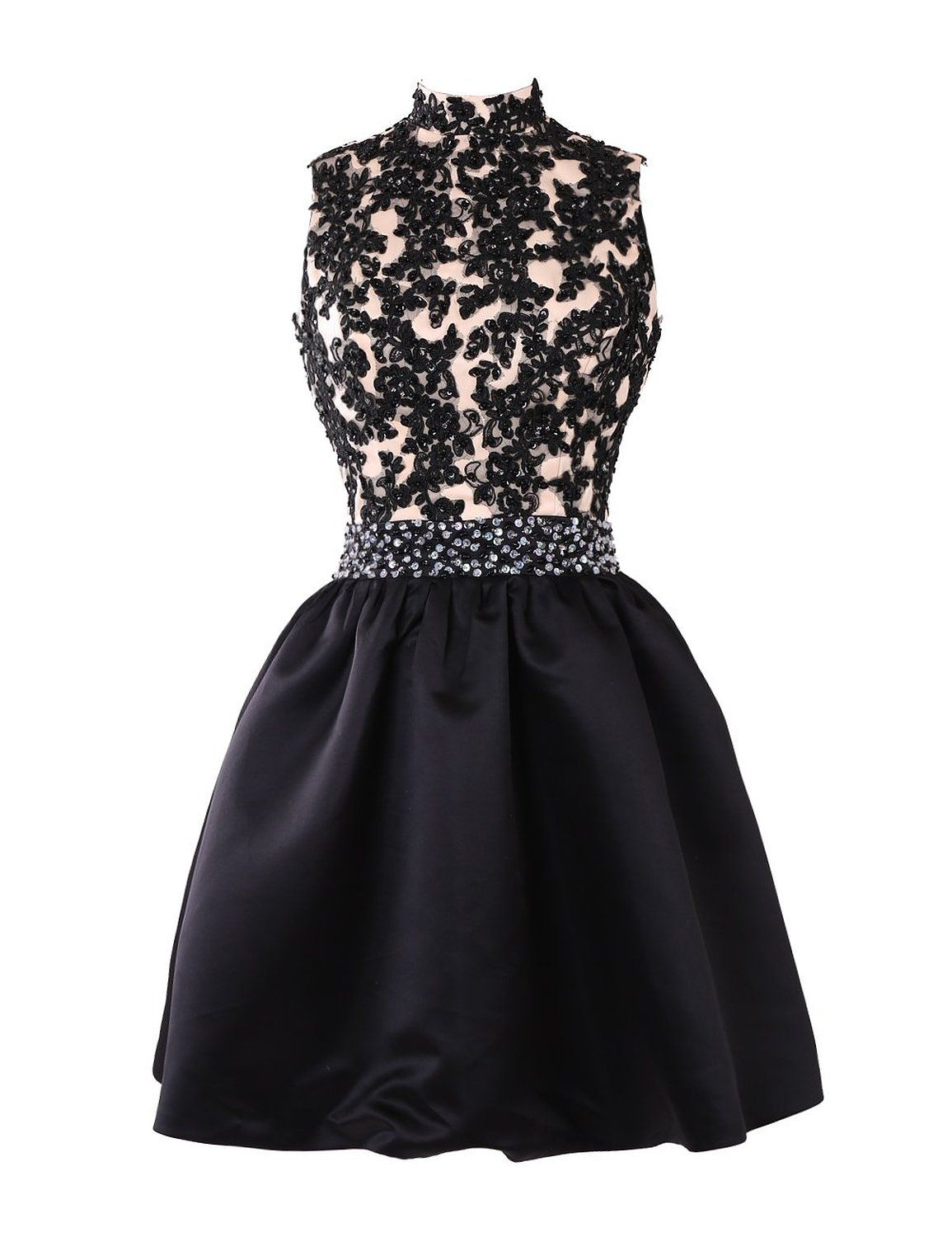 Exquisite A-line High Neck Knee Length Satin Homecoming/Cocktail Dress with Appliques Beads