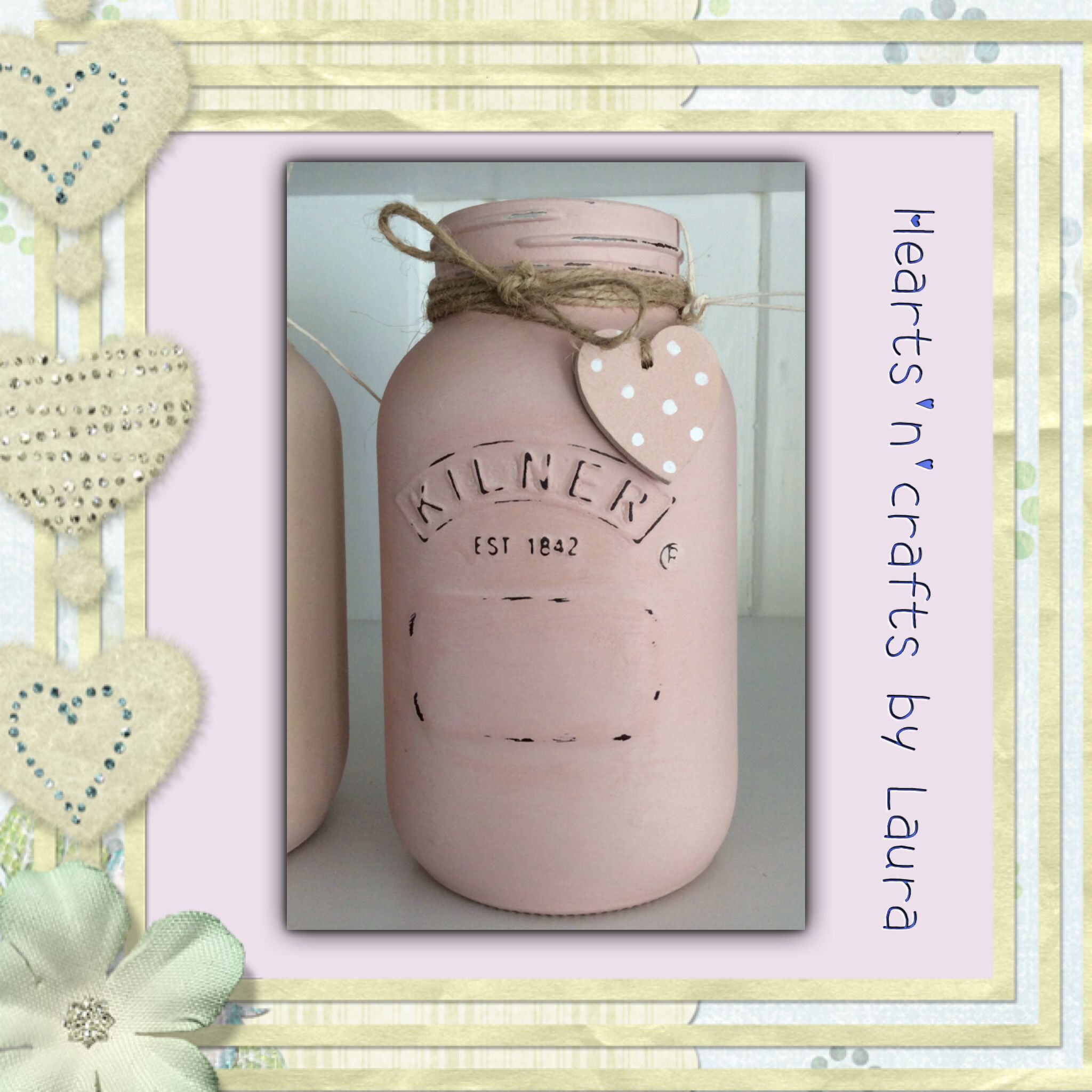Pretty kilner painted u varnished in chalk paint decorated with a