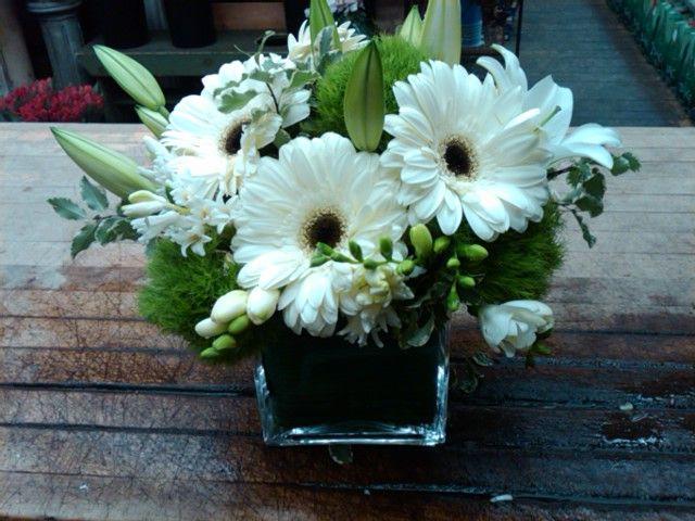 Small Vase of Whites and Greens