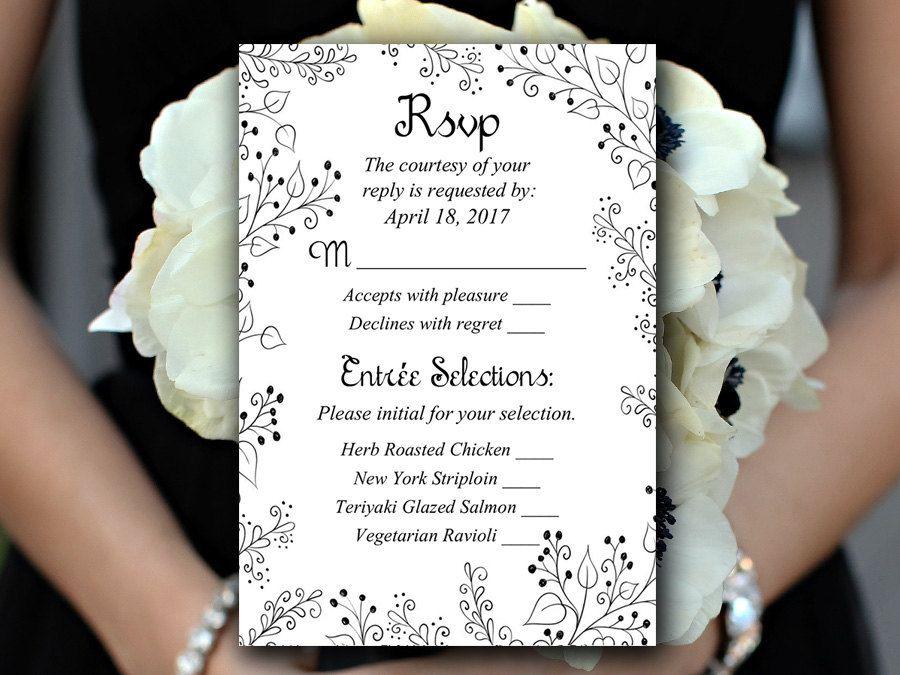 Wedding RSVP Template - Response Card Printable Wedding Invitation