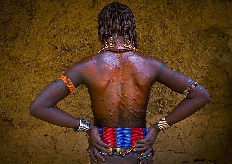 Hamer Tribe Woman Back With Scars, Turmi, Omo Valley, Ethiopia
