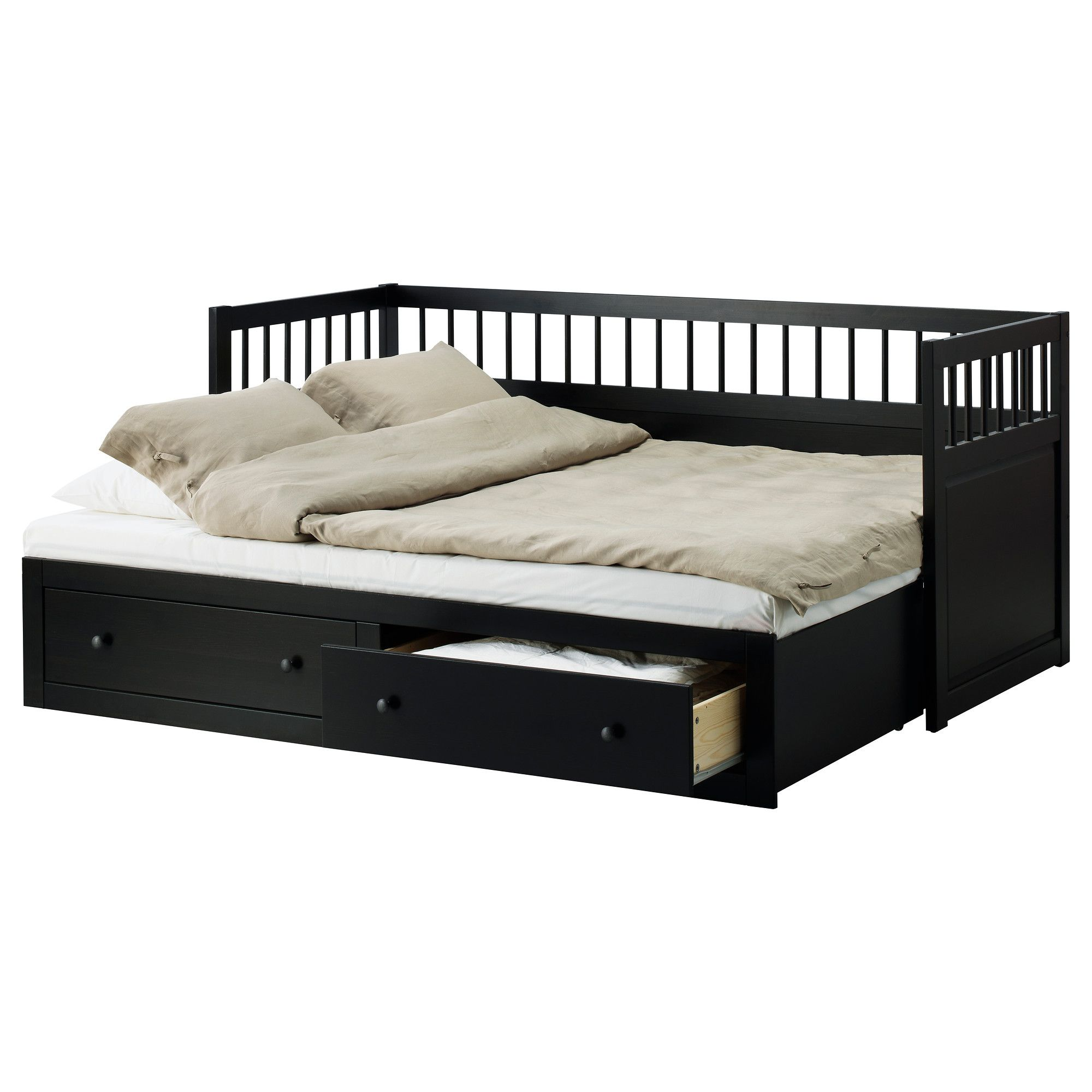 Best Awesome Wooden Painted Black Best Ikea Daybed With Trundle 640 x 480