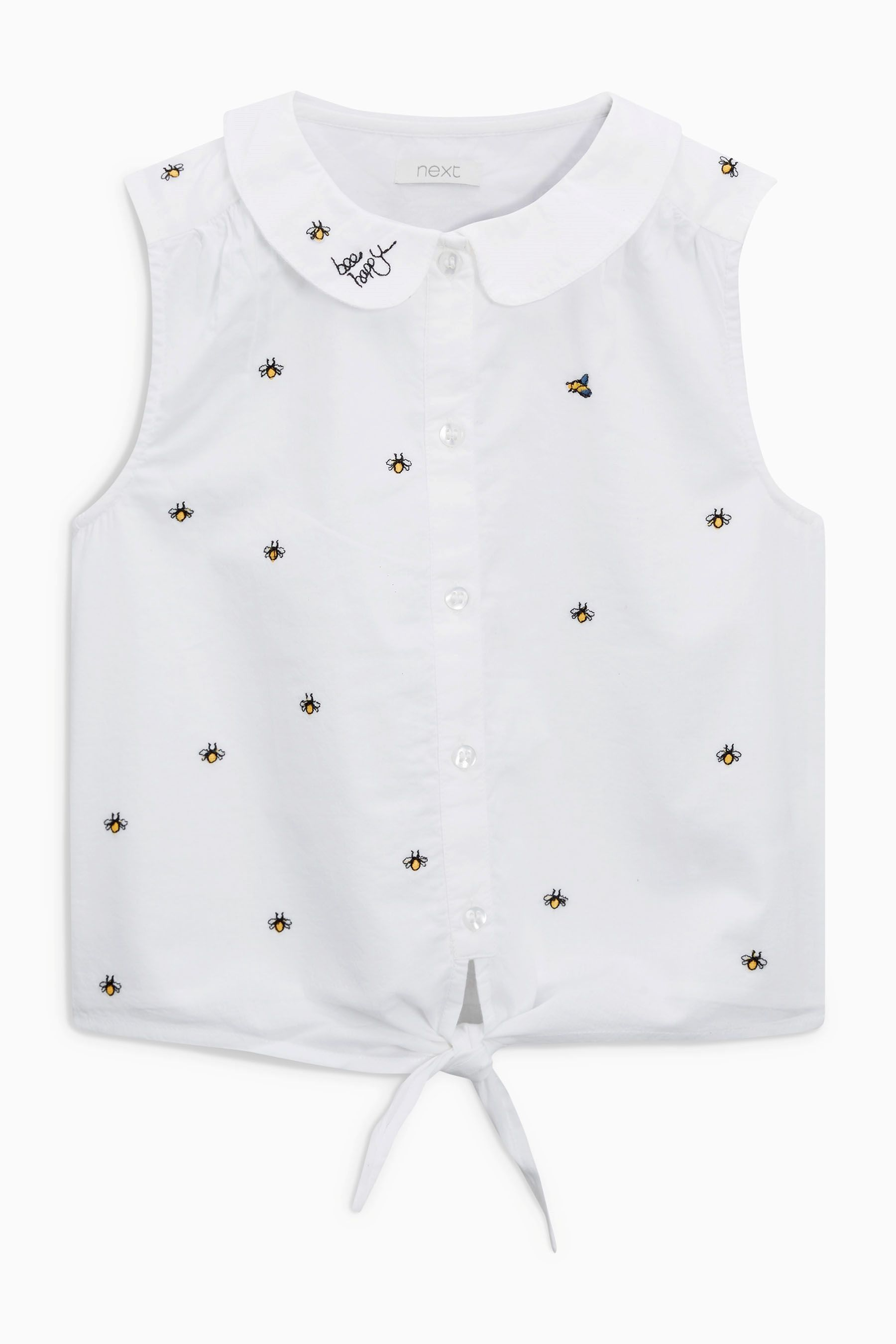 fa8793cb6e13e Buy White Embroidered Tie Front Blouse (3-16yrs) online today at Next   United States of America