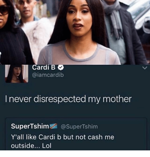 Cardi B Iamcardib I Never Disrespected My Mother Supertshim Supertshim Yall 24908755 Png 500 522 Cardi B Memes Funny Pictures Ghetto Humor