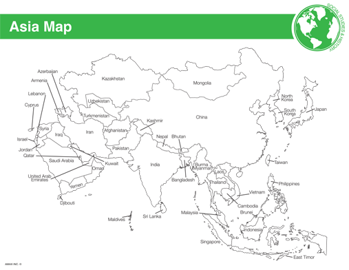Blank Map Of Asia   Free Printable World Map