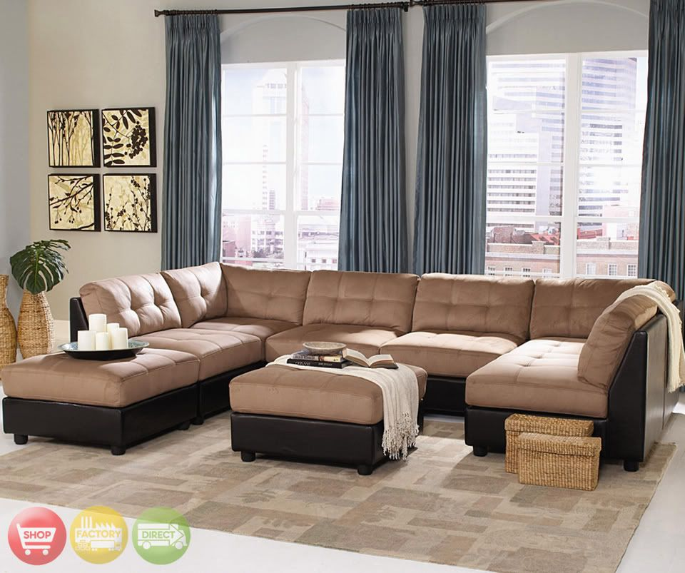 U Shaped Microfiber Sectional Sofa Shaped Two Tone Tan Brown