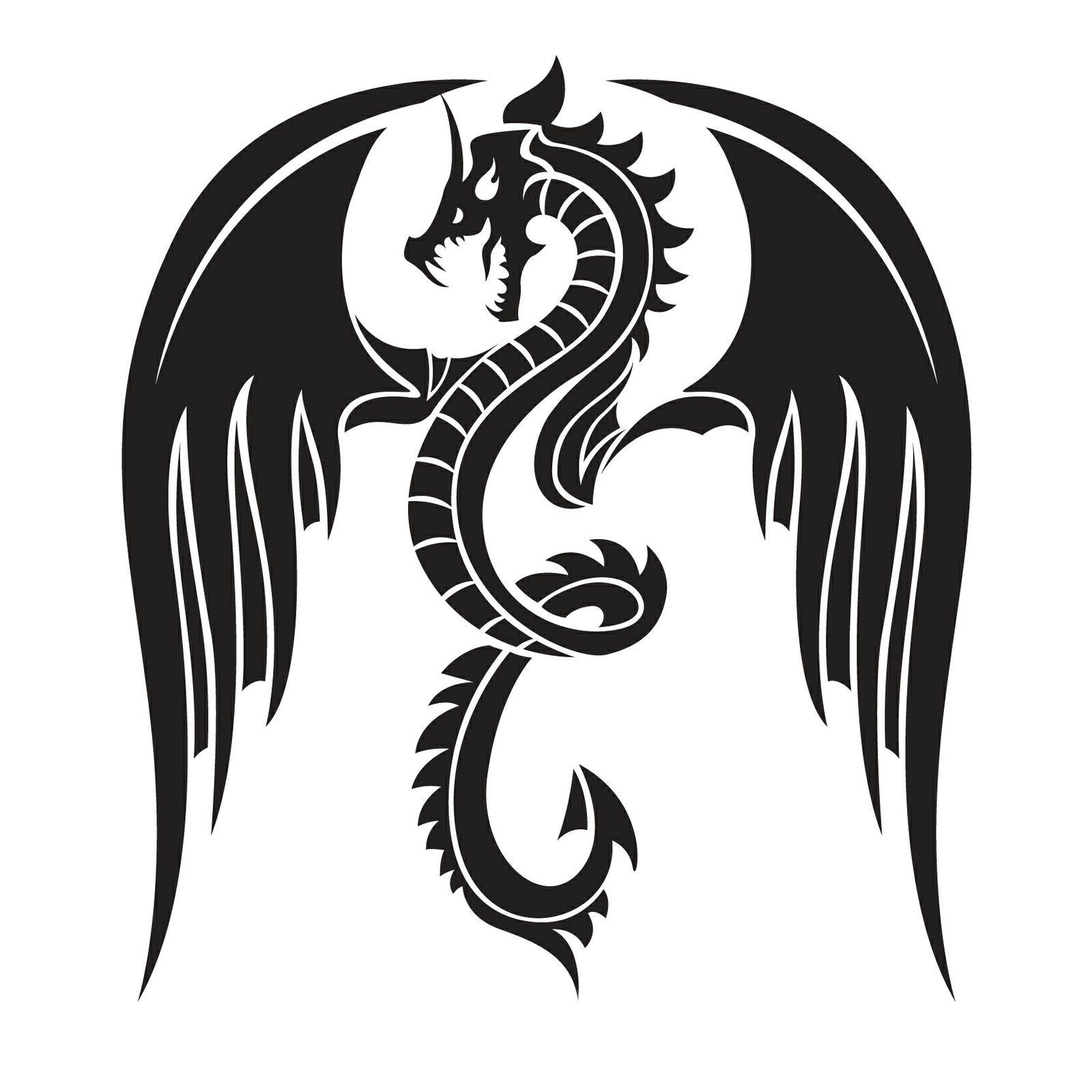 Black Dragon Iron On Transfer A5 Size NEO TATOO STUDIO